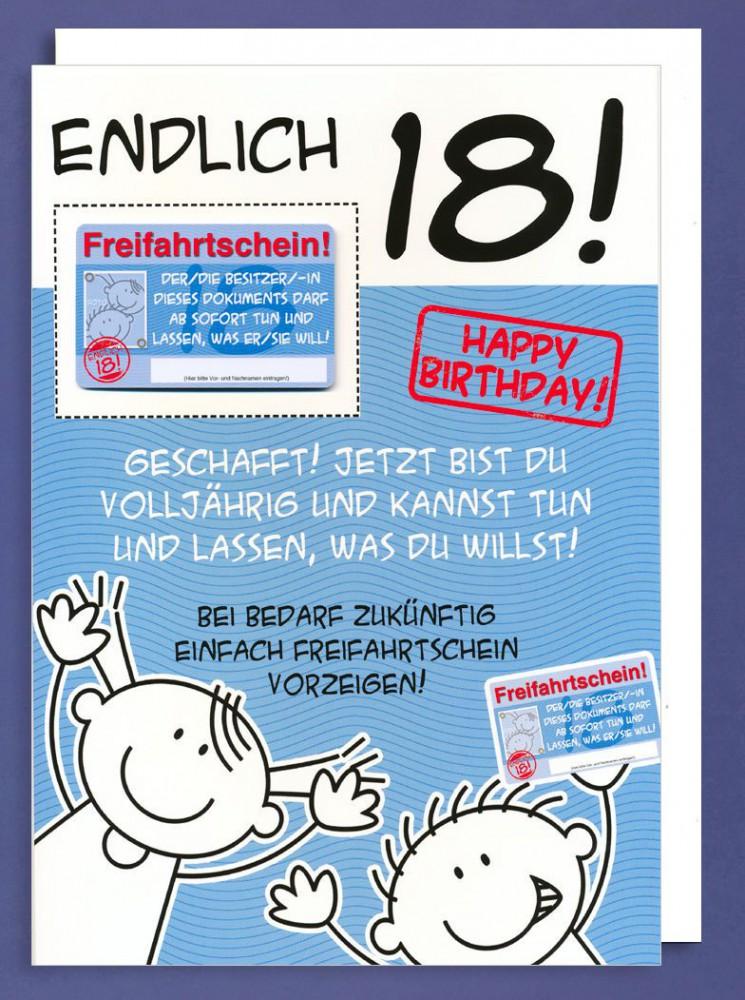 Riesen Grußkarte 18 Geburtstag Humor AvanFriends XXL