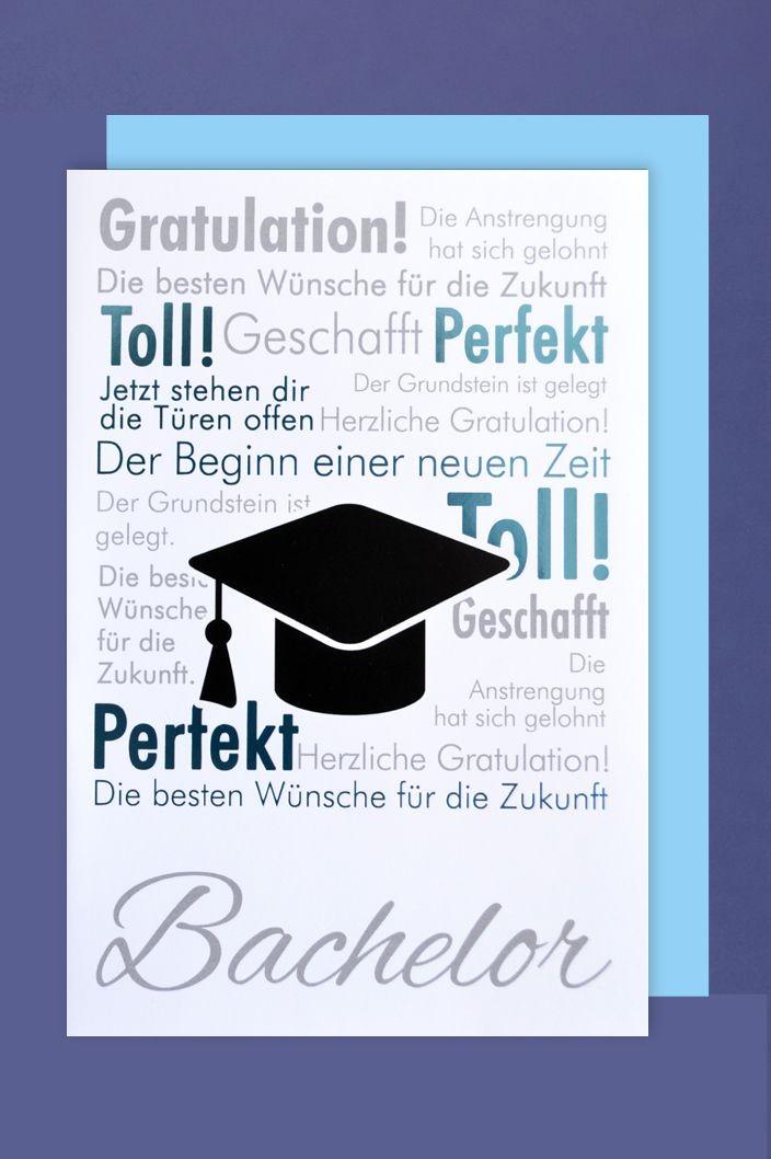 Bachelor Grußkarte Applikationen Gratulation Hut 16x11cm